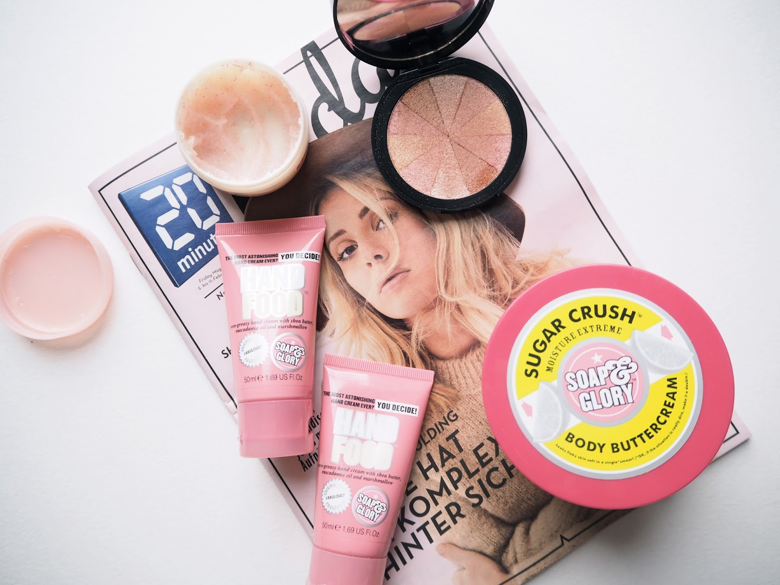 Top 5 Soap & Glory Products, best soap and glory products, hand food, sugar crush body buttercream, scrub em and leave em, peach party, archery brow pencil, review