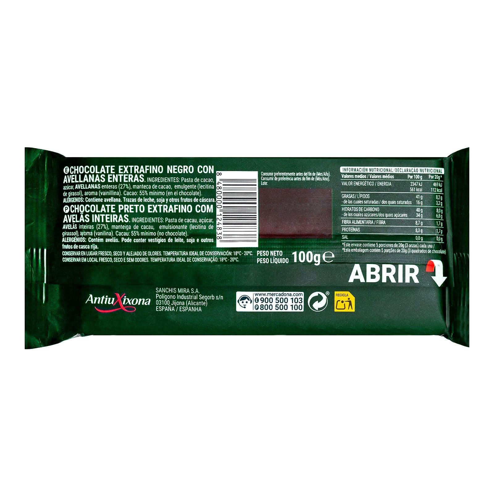 Chocolate negro con avellanas enteras Hacendado