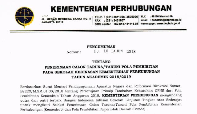 Pendaftaran Sekolah Ikatan Dinas Kementerian Perhubungan
