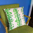 FOR SALE: Hand painted custom design envelope pillow cover in green and natural
