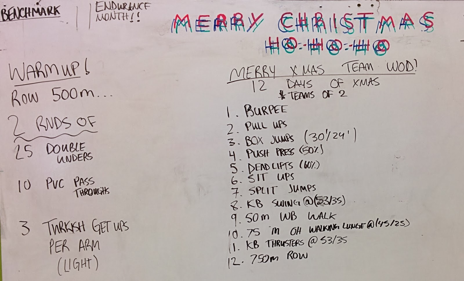 12 Days Of Christmas Crossfit Wod.Day 110 Team Wod 12 Days Of Xmas Endurance Month