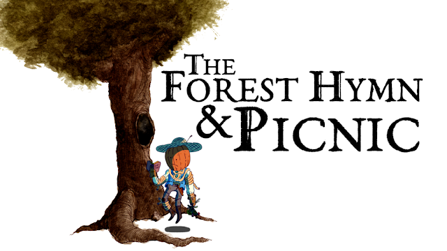 A tree with a pumpkin-headed friend floating nearby, plus the text The Forest Hymn & Picnic