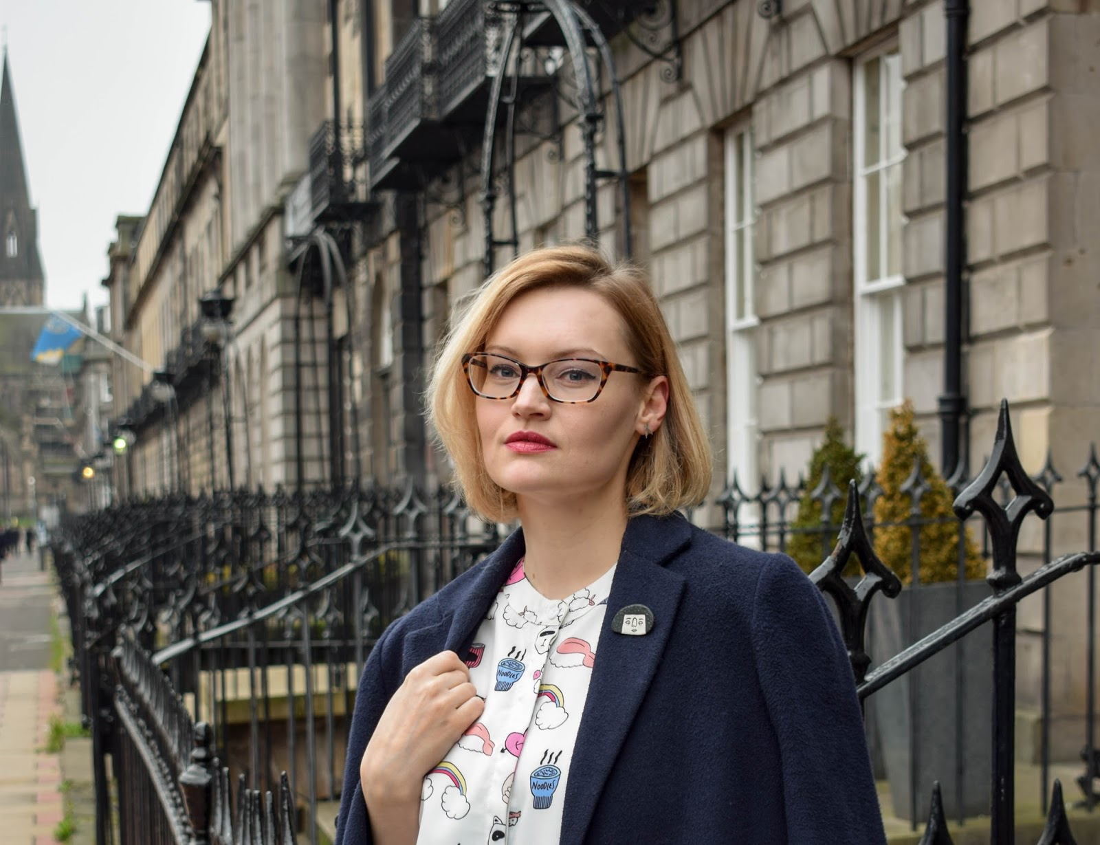 The whitepepper, sushi and noodle print shirt dress, jode pankhurst ceramic accessories, scottish style in edinburgh, what to wear in Scotland in February