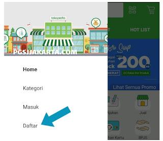 Cara mudah daftar akun Tokopedia melalui Aplikasi