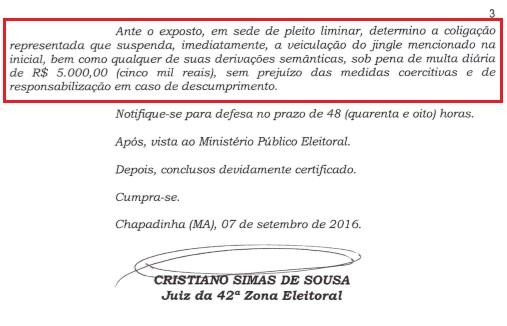 Chapadinha-MA, Eleições 2016: Justiça proíbe jingles (músicas) difamatórios