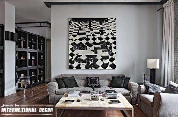 contemporary interior design, contemporary living room, black and white painting