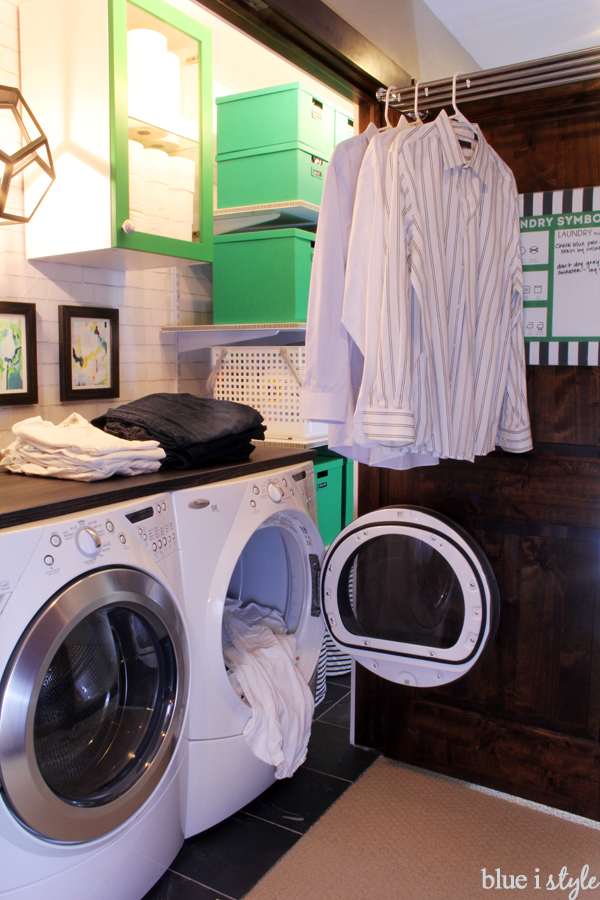 Laundry Closet Folding Counter and Hanging Space