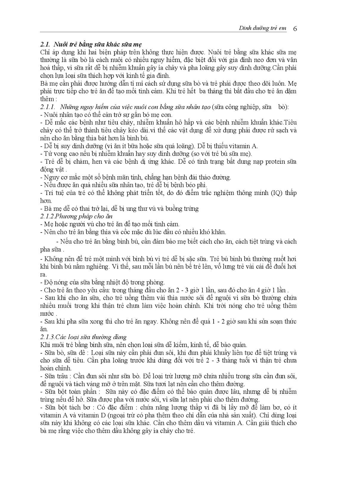 Trang 6 sach Bài giảng Nhi khoa I (Nhi khoa cơ sở - Nhi dinh dưỡng) - ĐH Y Huế