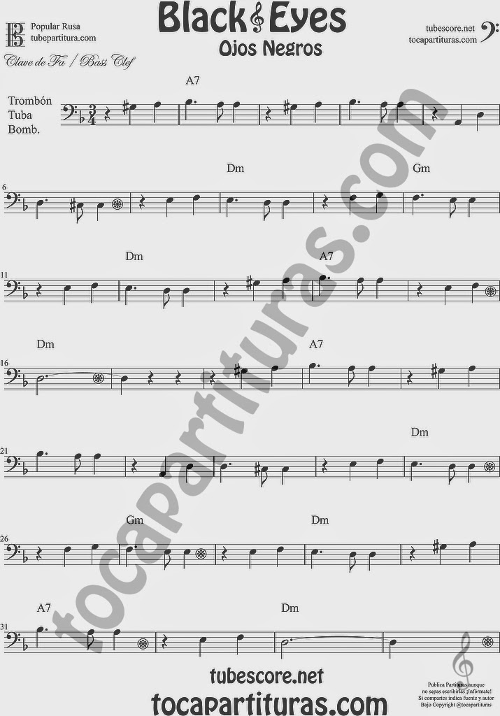 Ojos Negros Partitura de Trombón, Tuba Elicón y Bombardino Sheet Music for Trombone, Tube, Euphonium Music Scores Black Eyes Popular Rusa