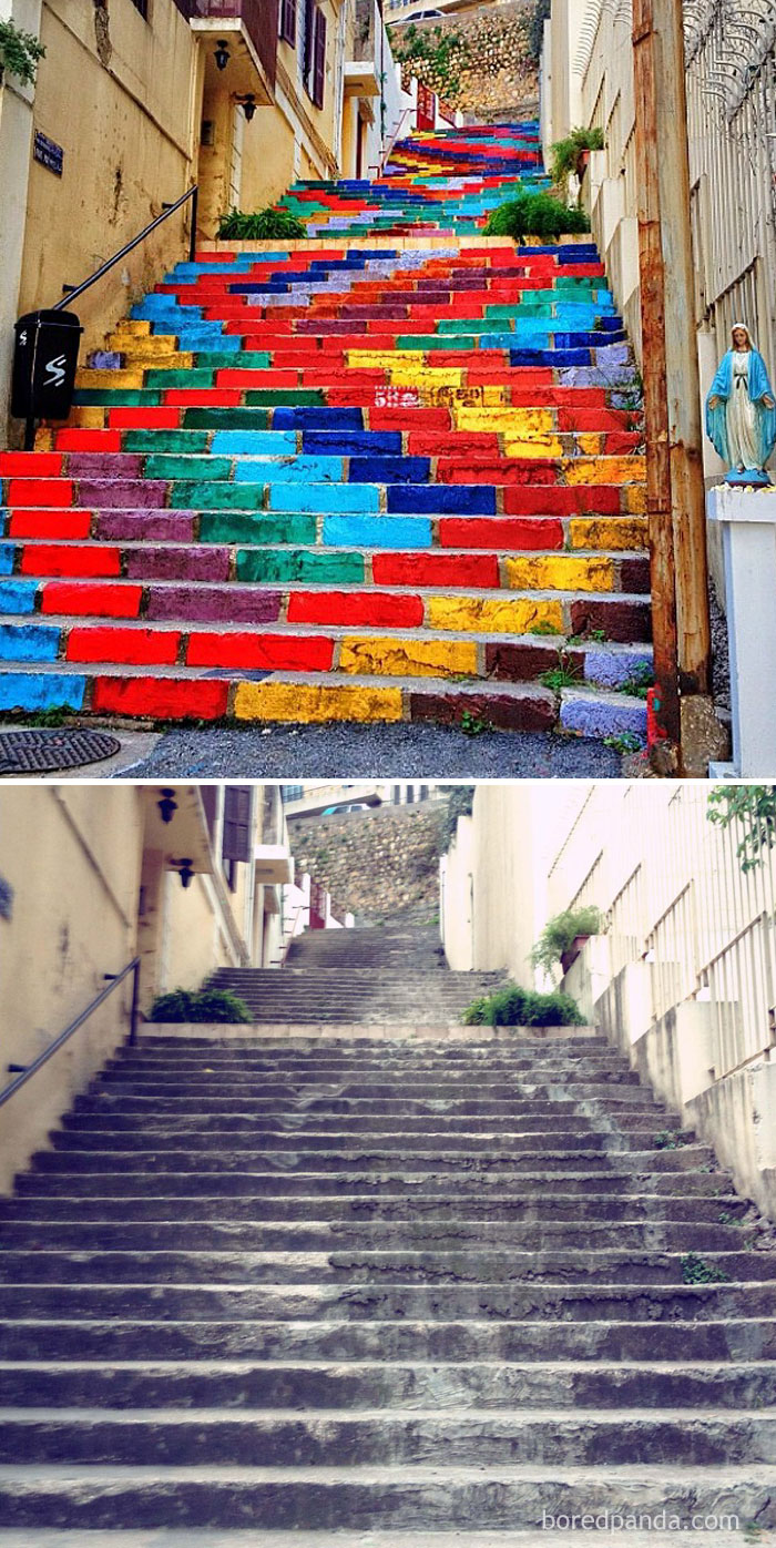 10+ Incredible Before & After Street Art Transformations That'll Make You Say Wow - Street Art On The Steps Of Beirut, Lebanon