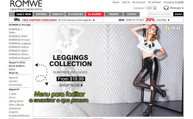 Comprar roupas baratas no site Romwe