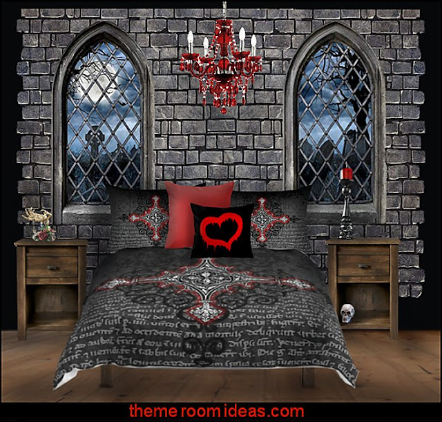 gothic castle bedroom gothic bedding  Gothic style bedroom decorating ideas - Gothic furniture - Gothic chic - Victorian Gothic boudoir themed decor  - Gothic Beds -  Gothic Seating - Gothic Lighting - Designing a Gothic Room - Goth style for teens - Gothic Victorian Bedroom Theme - vampire themed bedroom decorating ideas - Gothic Wall Murals - gothic living room - Gothic bedding -  Gothic wall decorations