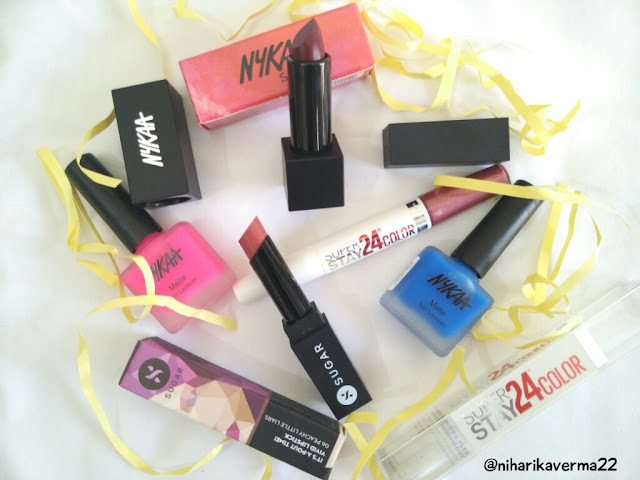 Nykaa's Neon Matte Nail Paints & Matte Lipsticks | New Launch- Maybelline 24 Superstay | SUGAR- It's-A-Pout-time lipstick | Reviews | Swatches 1