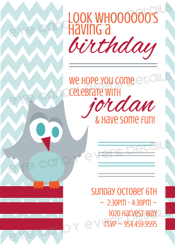 owl birthday party invite, birthday invitation, chevron, fall colors, owl