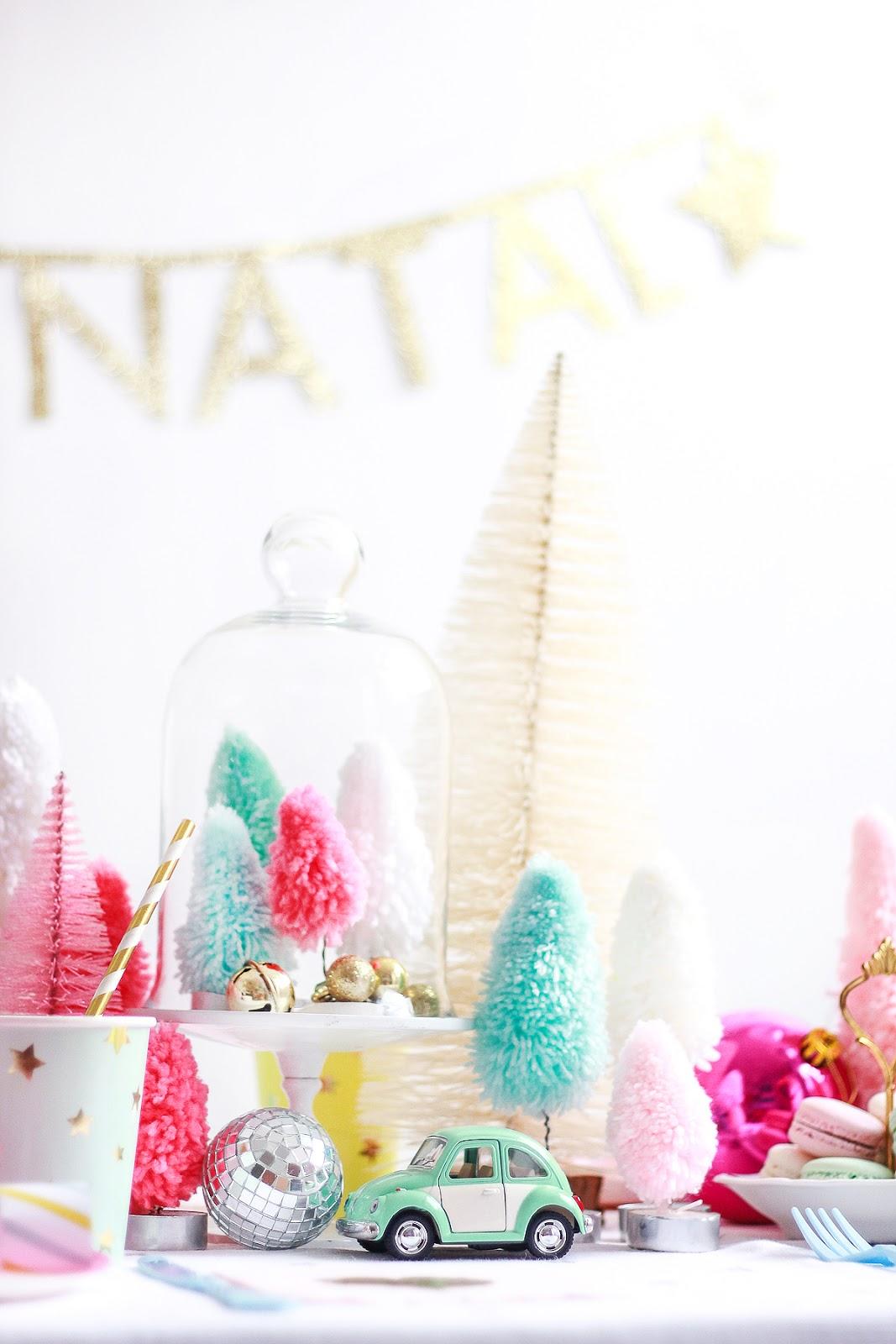 christmas table setting rainbow cute centerpiece xmas decor