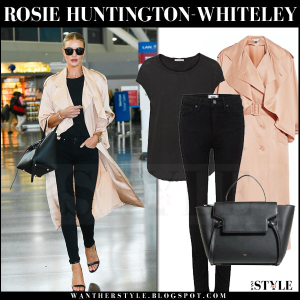 Rosie Huntington-Whiteley in silk pink stella mccartney frankie trench coat, black skinny jeans and black sandals what she wore models off duty