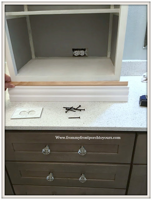 Master Bathroom Makeover-DIY-Counter Cabinet-Trim Work-French Farmhouse-From My Front Porch To Yours