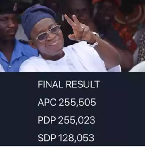 Osun State Rerun Final Result : INEC declares Oyetola winner of Osun governorship election .