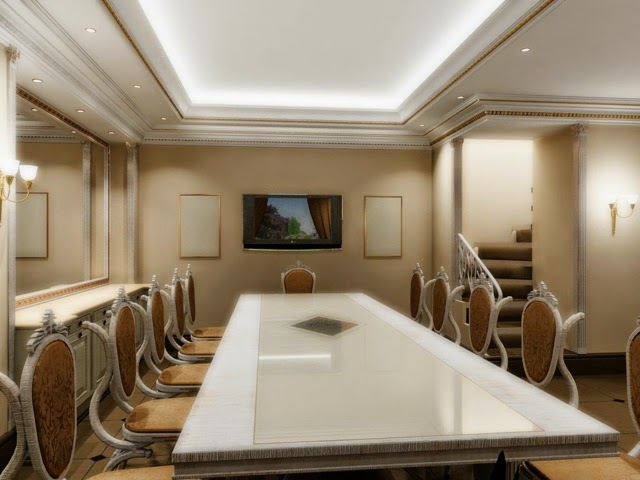 Gypsum False Ceiling Design For Dining Room With LED Lights