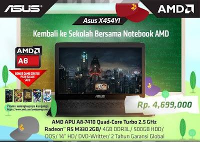 Harga dan spesifikasi Laptop ASUS X454Y AMD A8 Quad Core X4 dan Memory 4GB
