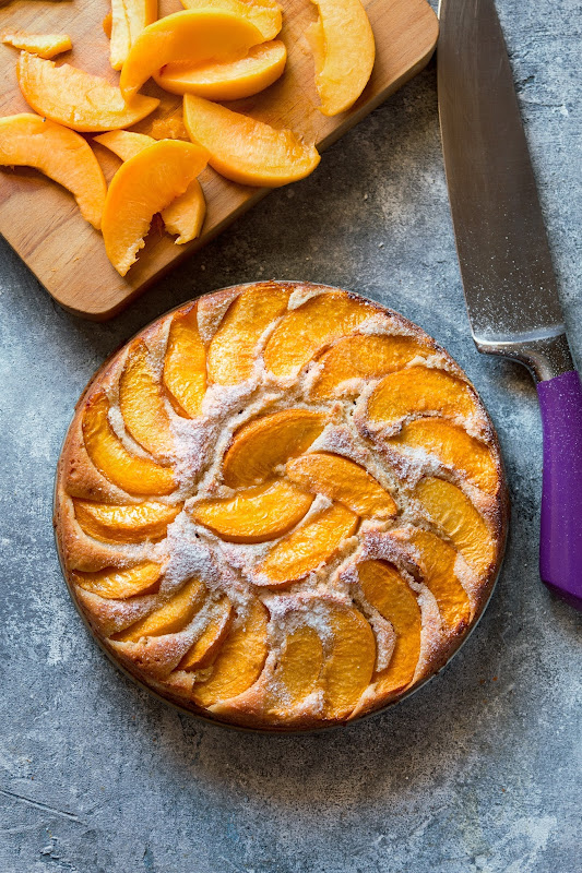 Summer fresh peach cake