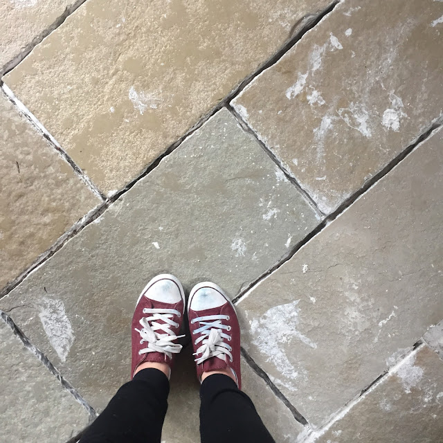 Cleaning adhesive off tiles