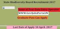 State Biodiversity Board Recruitment 2017–Data Entry Operator