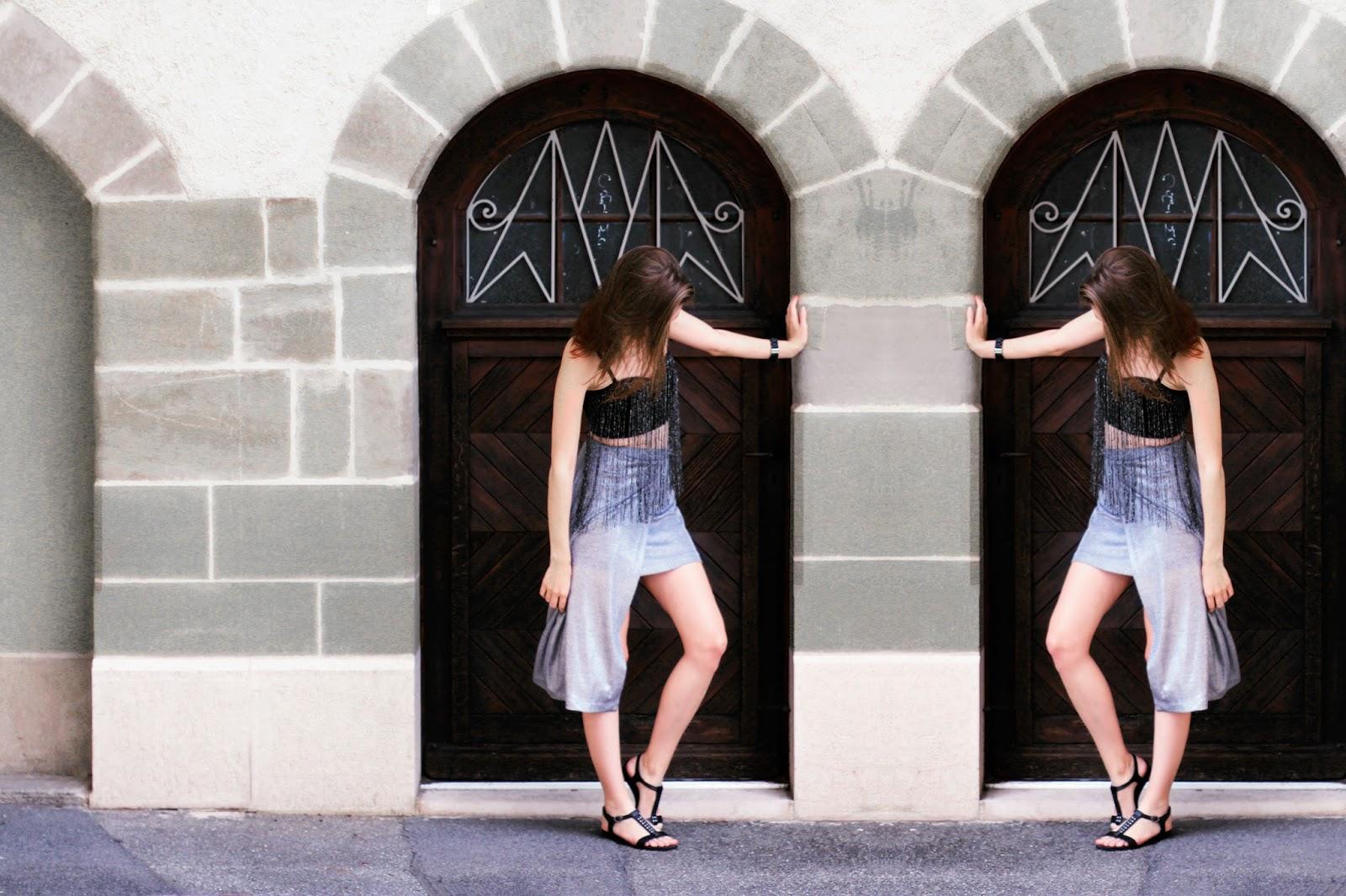 silver assymetric outfit swiss fashion blogger tally weijl