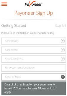 screenshot: payoneer sign up form