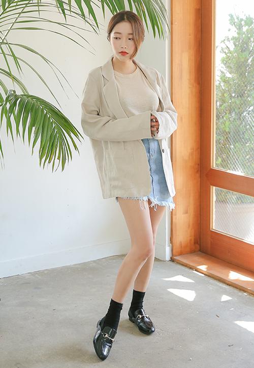 Single Button Linen Jacket
