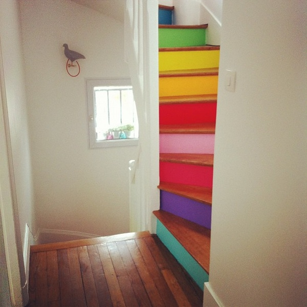Painted Staircase: Dishfunctional Designs: Intimate Stairs: Painted