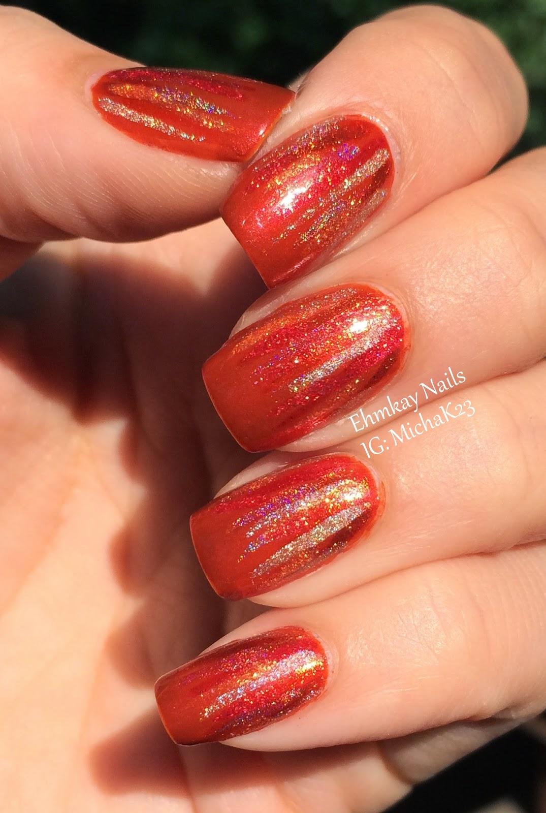 Ehmkay Nails New Year S Eve Nail Art With Kbshimmer Bling: Ehmkay Nails: Orange Waterfall Nail Art