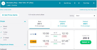 Cheap direct flights Brussels to New York
