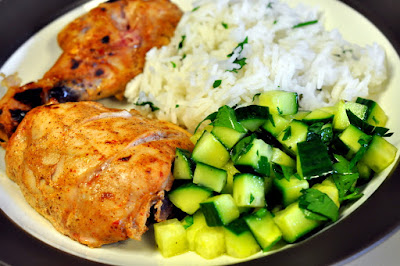 Pomegranate-Yogurt Chicken with Basmati Rice and Cucumber Relish from Plated | Taste As You Go