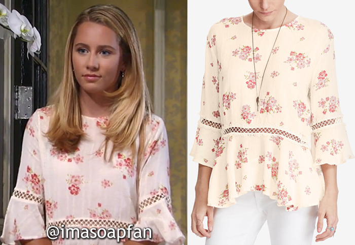 Josslyn Jacks, Eden McCoy, Cream and Pink Floral Top with Crochet Lace Trim, General Hospital, GH