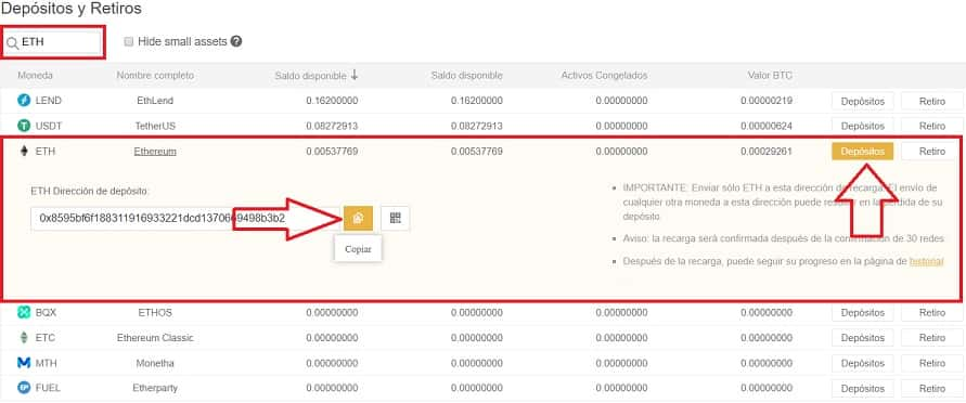 depositar ethereum en BINANCE