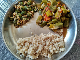 Barnyard millet rice,  Ladies finger curry,  Bitter gourd poriyal