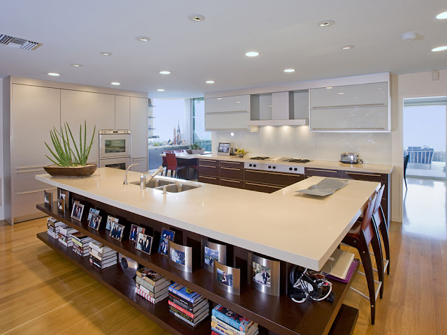 Picture of huge modern kitchen with large kitchen island