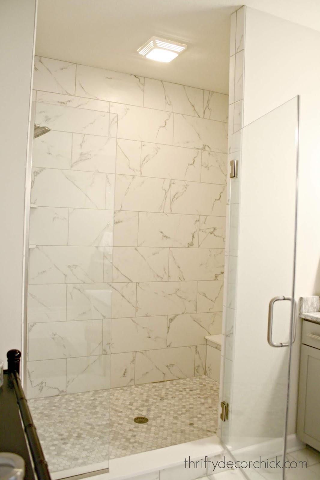 Marble lookalike in walk in shower