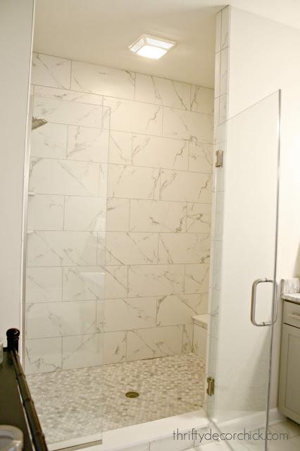 Marble lookalike in walk in shower