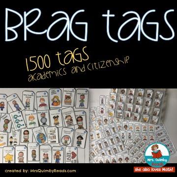brag tags, MrsQuimbyReads, classroom management, teaching resources, student behavior
