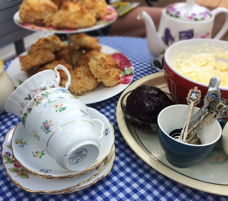 The pretty china cups and teapot plus a scones with jam n cream made this into a tea party