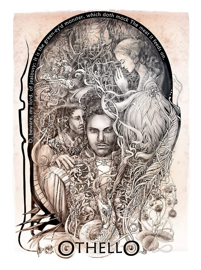 05-Othello-Irina-Vinnik-Intricate-Drawings-for-a-Shakespeare-Calendar-www-designstack-co