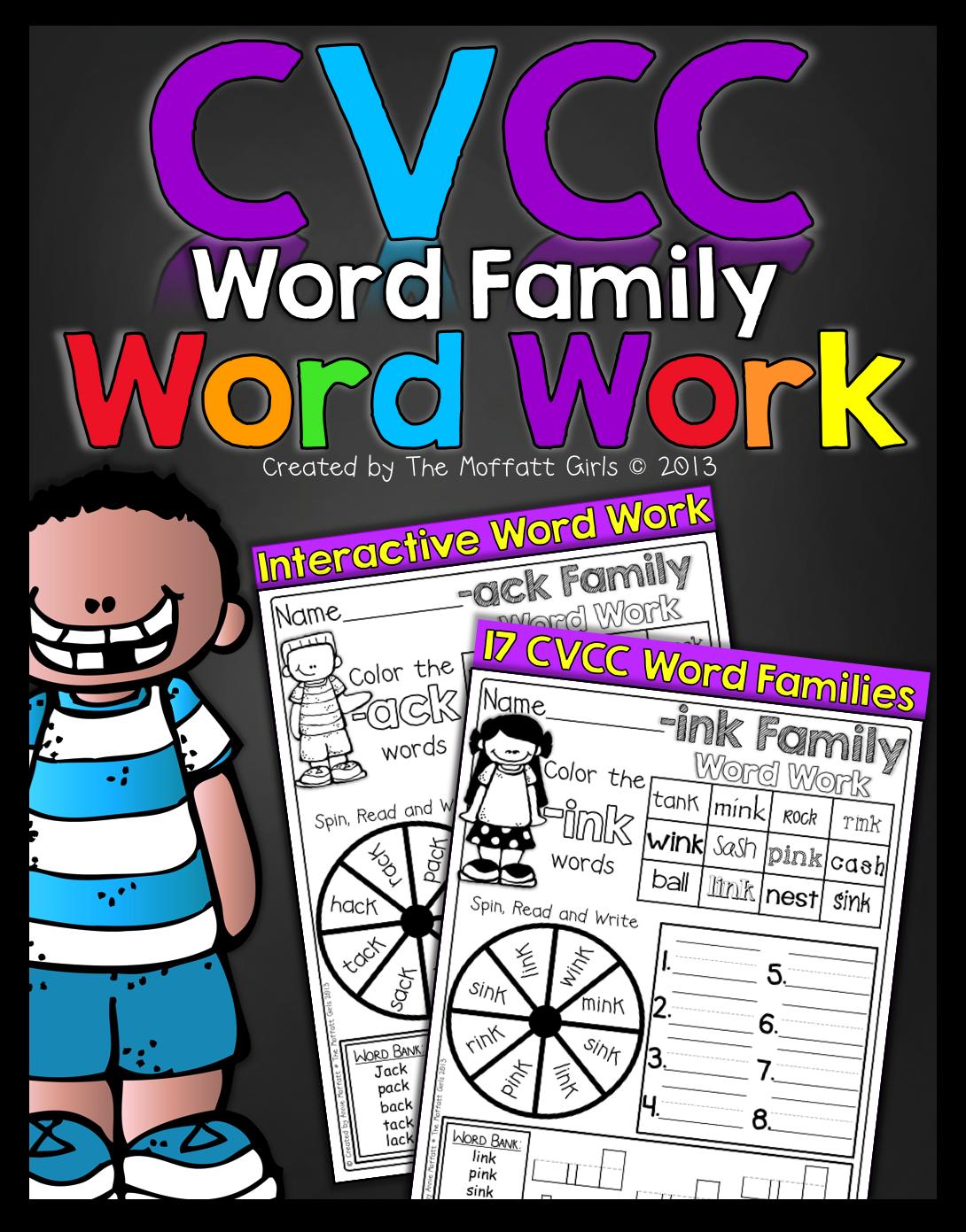 Cvcc Word Family Word Work