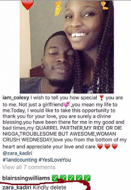 Shuu! Check out how lady reacted to her boyfriend's post about her on Instagram