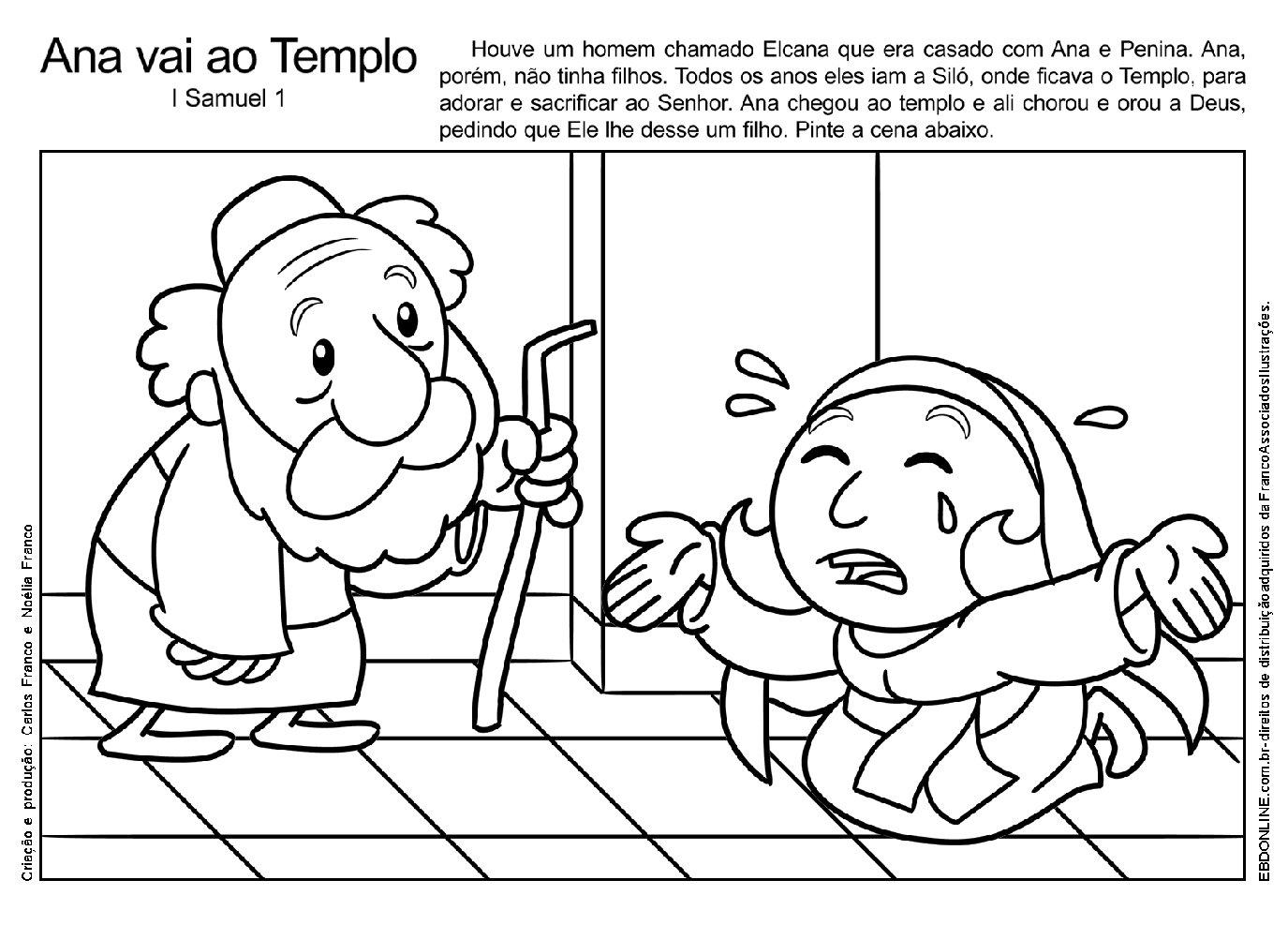 desenho de ana e samuel para colorir atividades pedagógicas