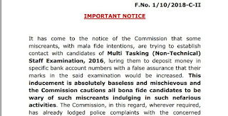 Official notice for SSC MTS 2016 Faud Calls