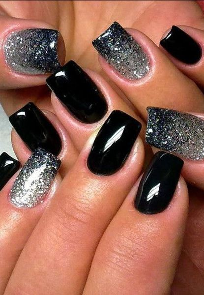 Black nail polish with sparkles