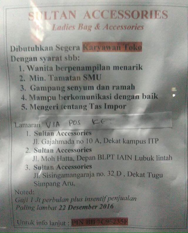 Lowongan Kerja di Padang – Sultan Accessories – Karyawan Toko