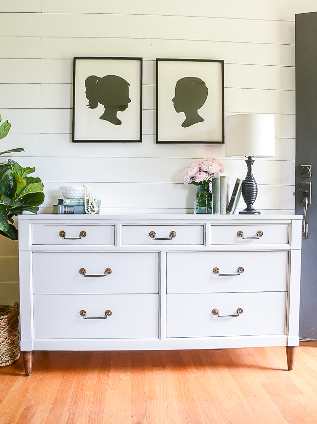 light gray painted vintage dresser makeover